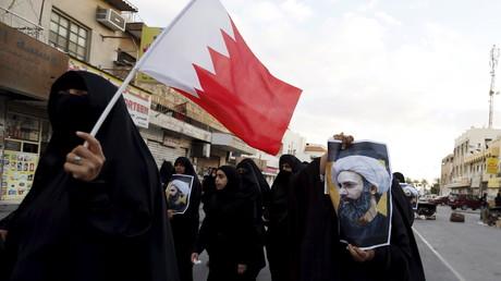 Des manifestants barheini qui protestent contre la mort du dignitaire chiite saoudien Nimr Baqer al-Nimr