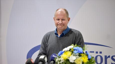 Dan Eliasson le commissaire national de la police suédoise lors d'une conférence de presse sur les agressions sexuelles pendant un festival de musique
