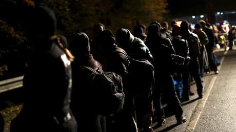 Migrants à la frontière entre l'Allemagne et l'Autriche