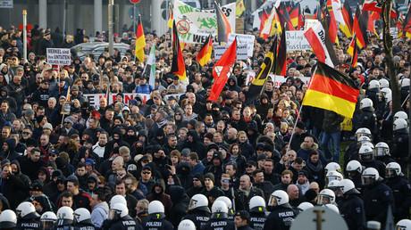 Manifestation ant-immigration des partisans du mouvement Pegida à Cologne le 9 janvier