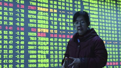 Ecran avec les taux de la bourse chinoise