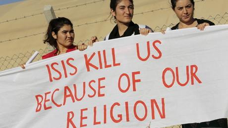 Des femmes Yazidis manifestent contre l'Etat islamique (image d'archive)