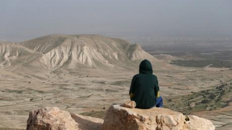 Un Palestinien contemplant la vallée du Jourdain