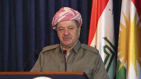 Massoud Barzani lors d'un conférence avec la ministre de la Défense allemande Ursula von der Leyen le 25 septembre 2014.