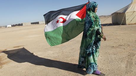 Une femme du Front Polisario brandit le drapeau du Sahara occidental lors de la cérémonie de commémoration des 35 années de l'existence de son mouvement à Tifariti au sud-ouest de l'Algérie, en 2011