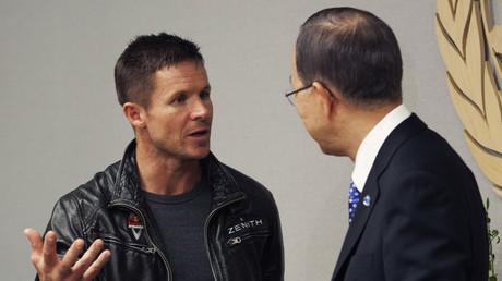 Felix Baumgartner rencontre le Secrétaire général de l'ONU Ban Ki-moon le 23 octobre 2012