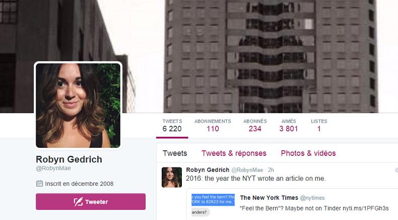 Le profil Twitter de Robyn Gedrych
