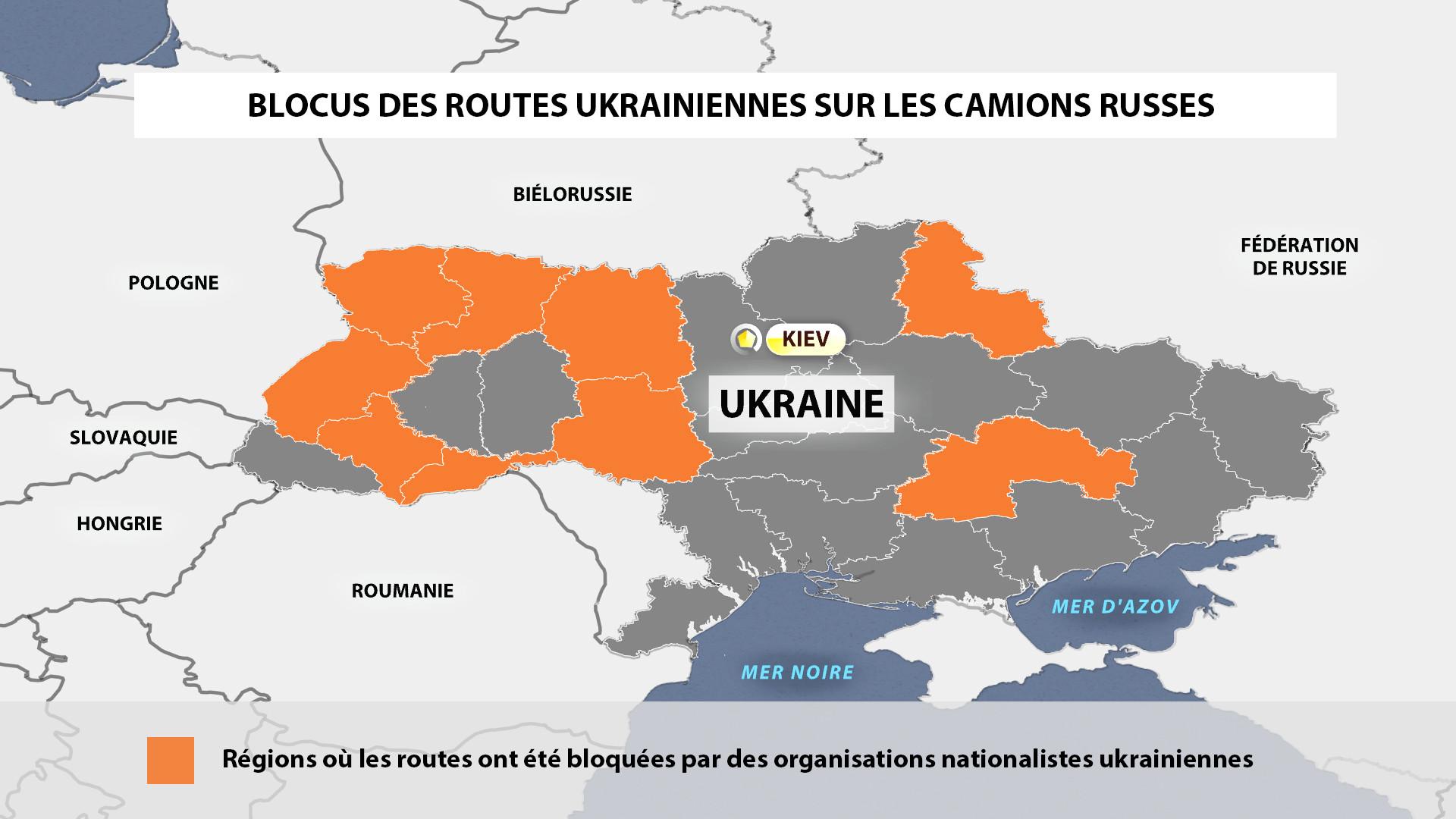 Poids lourds russes interdits de transit en Ukraine : une nouvelle dimension de la crise en images