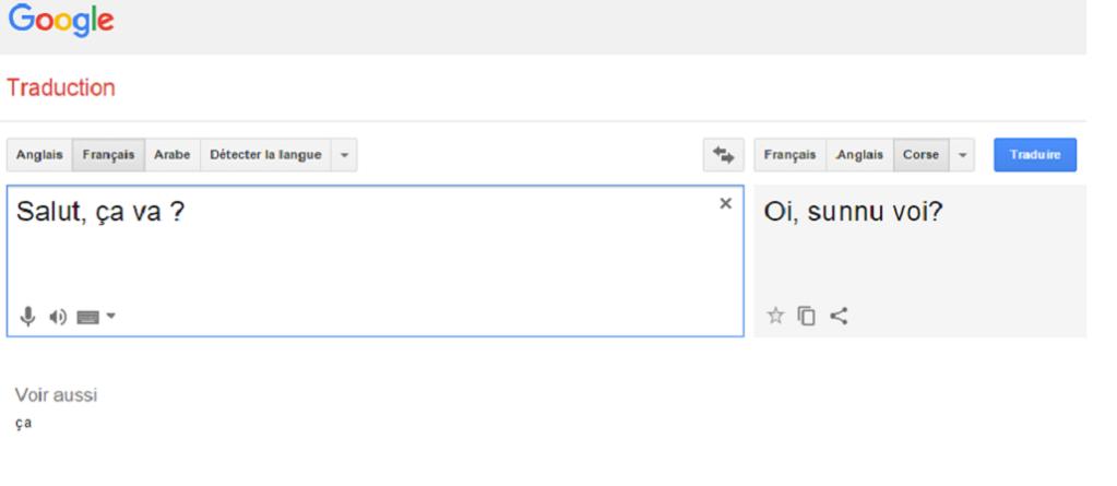 Le corse fait son entrée dans Google traduction ... avec tout de même quelques coquilles