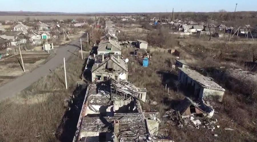 Un drone permet de visualiser l'ampleur des combats qui ont ensanglanté Debaltsevo dans le Donbass