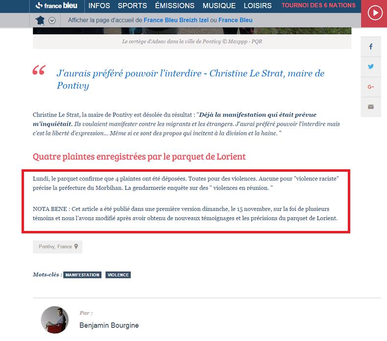 L'article modifié de France Bleu Armorique