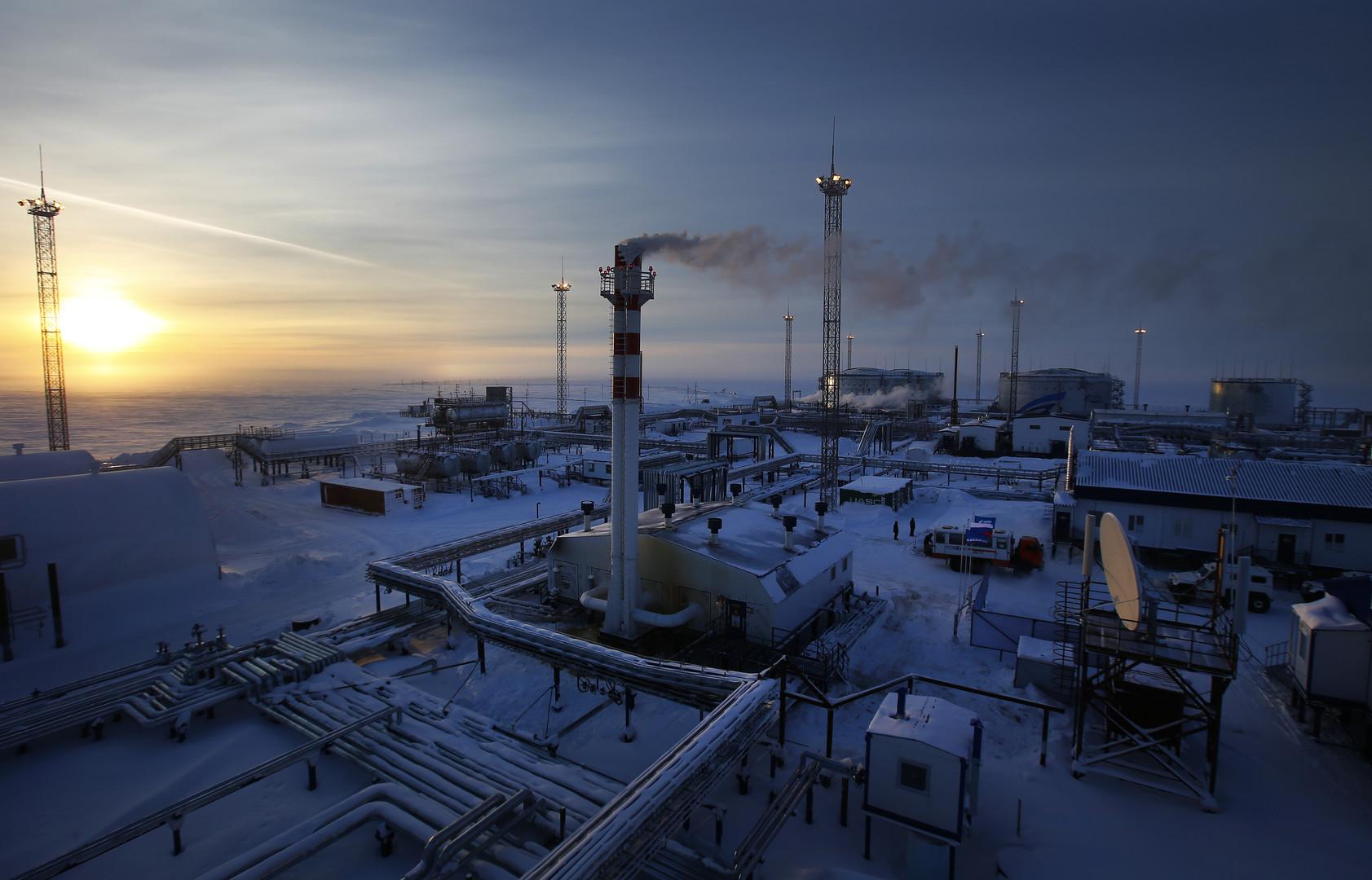 Installation pétrolière appartenant au géant russe Gazprom.