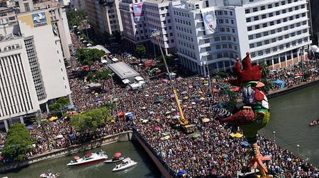 La vue aérienne des célébrations au Brésil