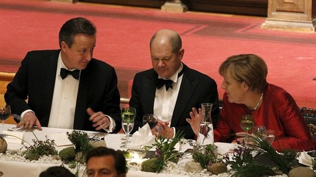 David Cameron et Angela Merkel lors du dîner à Hambourg