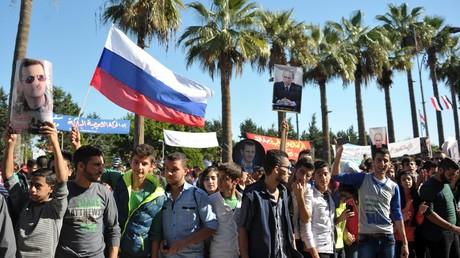La manifestation de soutien de l'opération militaire russe en Syrie