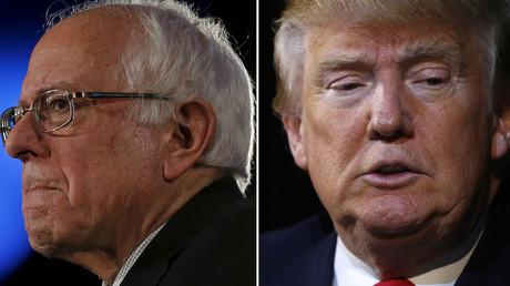 Bernie Sanders (à gauche), Donald Trump.