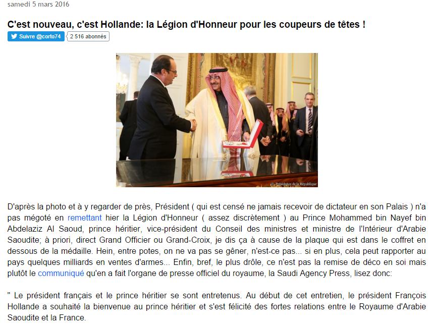 Légion d'honneur au prince saoudien : l'indignation silencieuse des Internautes et politiques