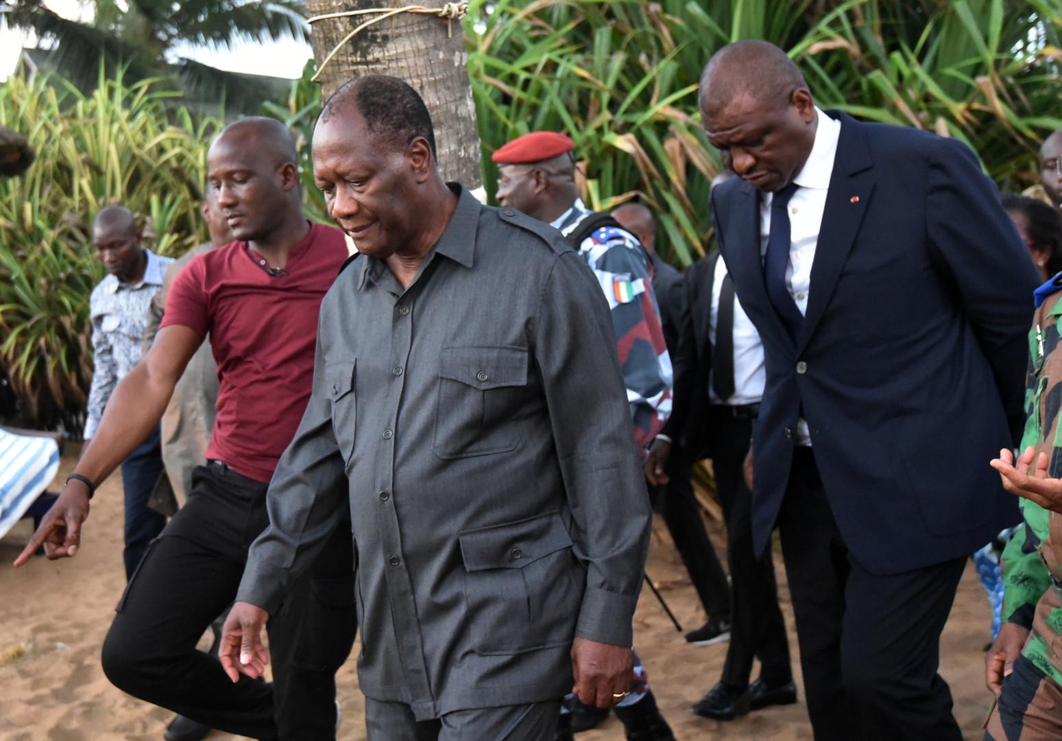 Le président ivoirien Alassane Ouattara s'est rendu sur les lieux