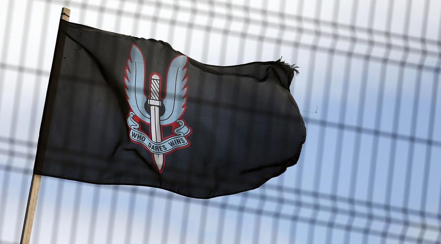 Le drapeau illustrant le symbole des forces spéciales britanniques, les SAS