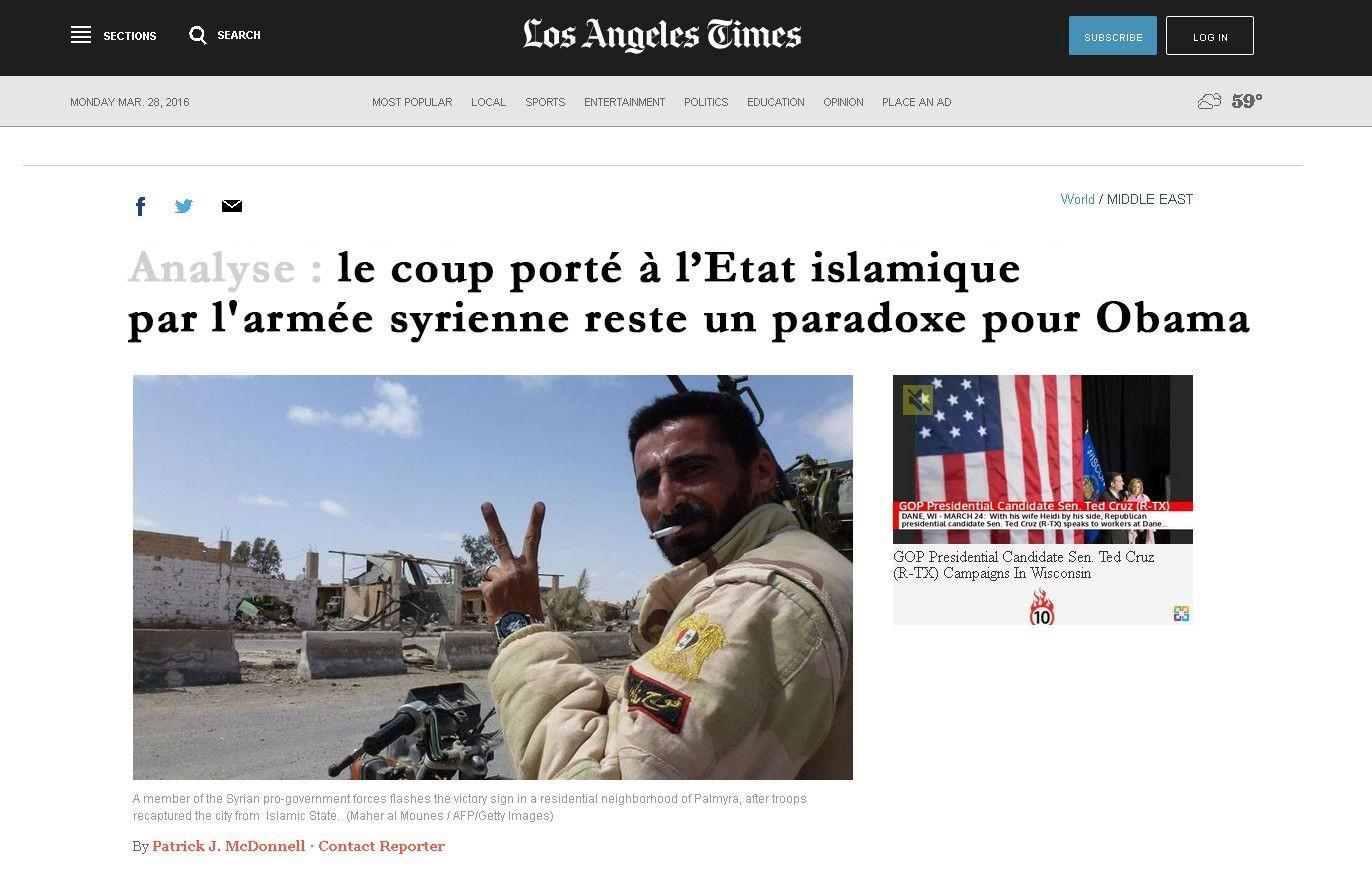 Pourquoi l'Occident passe sous silence la reconquête de Palmyre ?