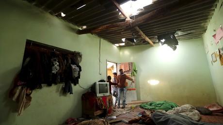Une maison endommagée par les raids israéliens