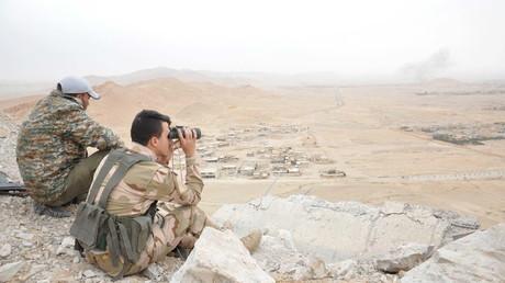 Les forces de l'armée du gouvernement syrien lors de la prise de Palmyre