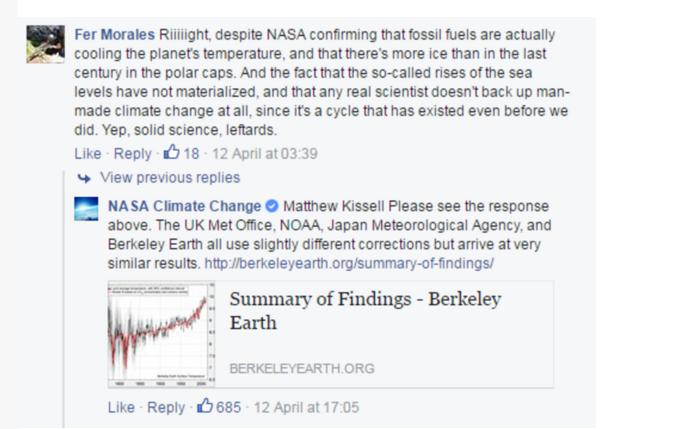 Sur Facebook, la Nasa part en guerre contre les climatosceptiques