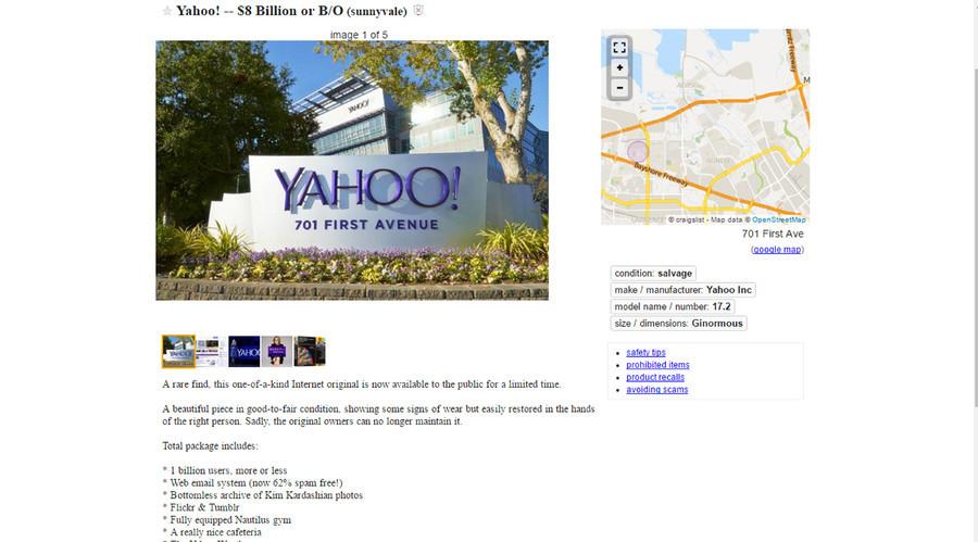 Internet Vintage ? Yahoo! traité comme une «antiquité» dans la liste des ventes de Craigslist