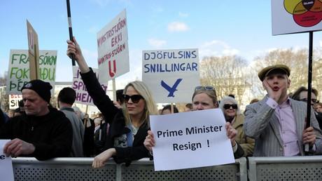 Manifestation en Islande suite aux  révélations de Panama Papers