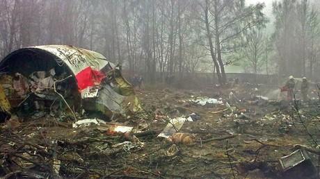 Les débris de l'avion près de Smolensk