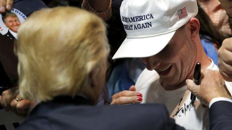 Le candidat à la primaire républicaine Donald Trump lors d'une réunion publique à Hartford, dans le Connecticut, le 15 avril 2016