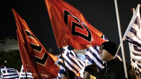 Membres du parti néonazi grec Aube Dorée,