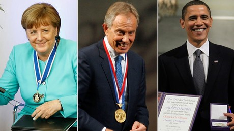 Angela Merkel, Tony Blair et Barack Obama