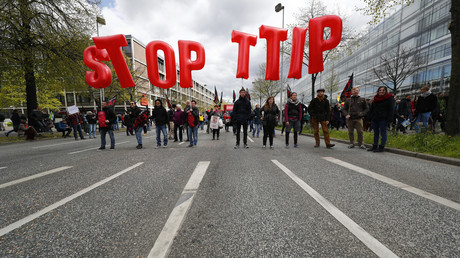 Les manifestants anti-TTIP à Hanovre