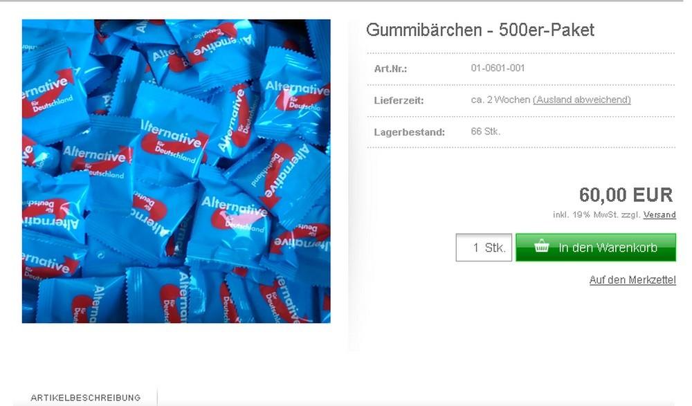Le parti allemand d'extrême-droite AfD commence à vendre des nounours pour son financement