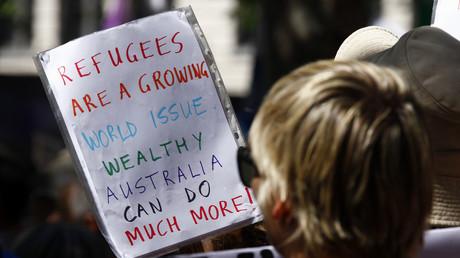 Manifestation de protestation contre la politique migratoire du gouvernement libéral Australie, Sydney le 11 Octobre 2014.