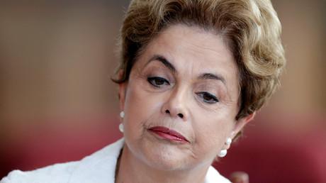 Dilma Roussef à une conférence de presse après sa destitution, Brasilia le 13 mai 2016