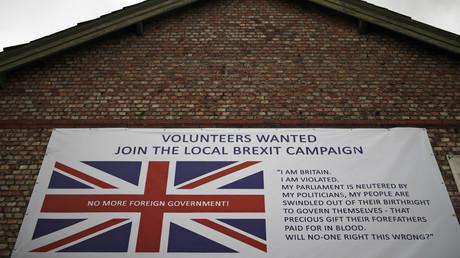 Un local de campagne encourageant les gens à soutenir le Brexit à Altrincham, en Angleterre