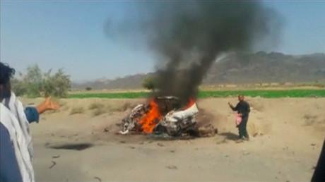 Le véhicule à bord duquel se trouvait le Mollah Mansour, frappé par un drone le 21 mai 2016 à Ahmad Wal