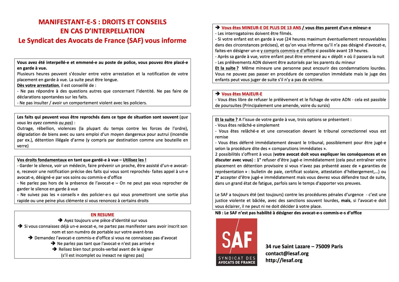 Tract du Syndicat des avocats de France