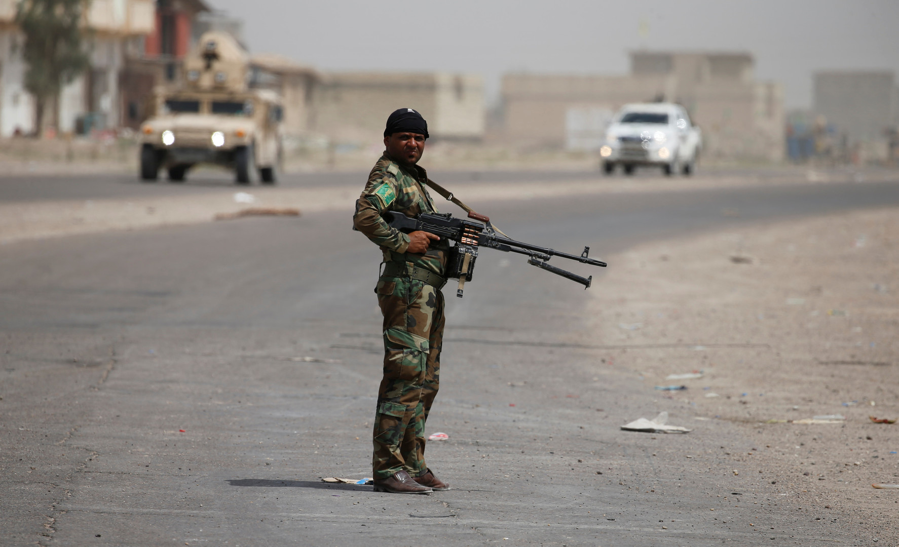 Un membre de la milice chiite de l'Organisation Badr à Saqlawiyah, près de Falloujah