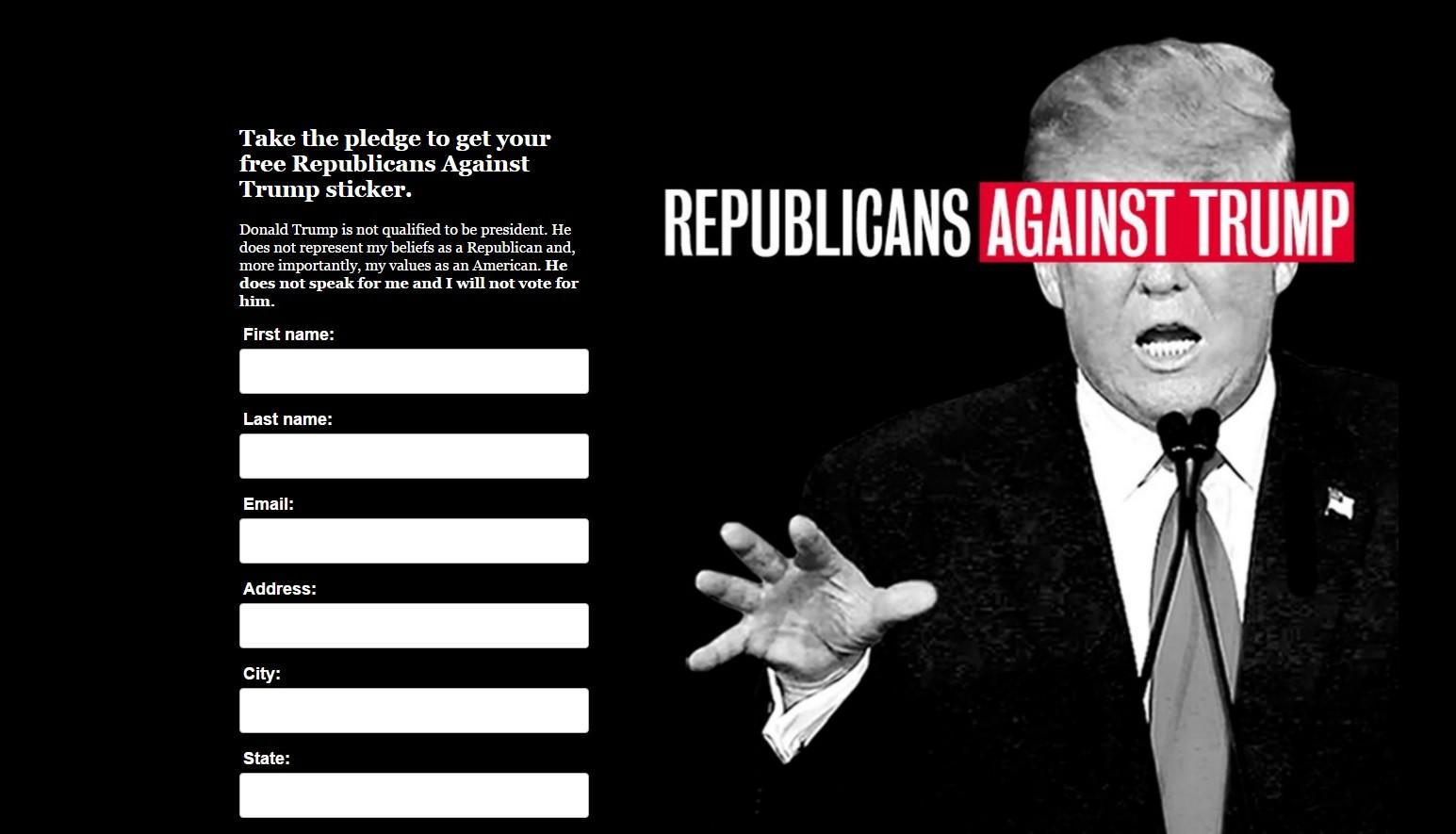 Hillary Clinton aux Républicains : « Ne votez pas pour Trump ! »…et recevez un autocollant