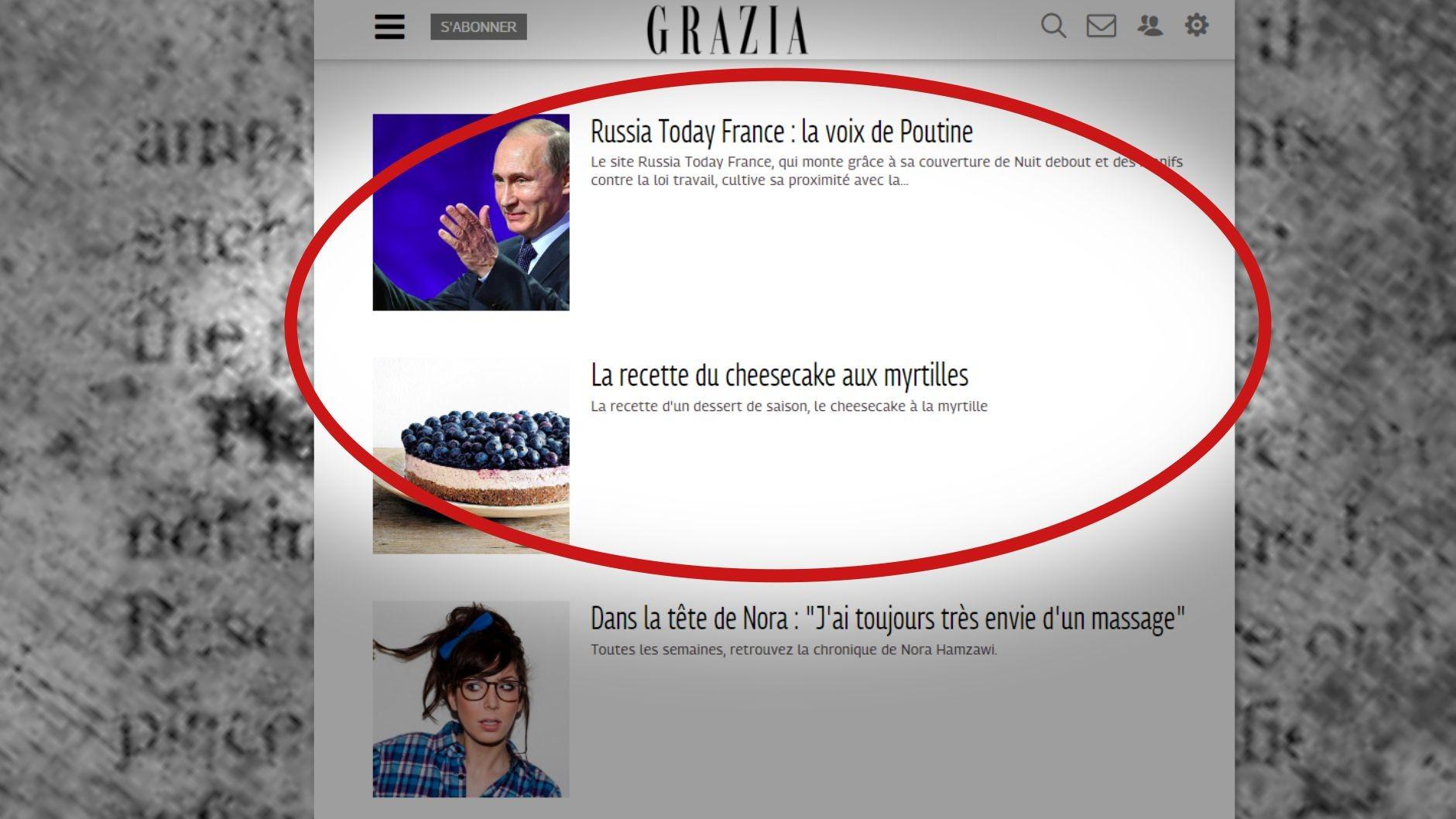 Capture d'écran du site Grazia