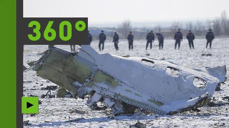 Vidéo panoramique du site de l'impact du Boeing à Rostov-sur-le-Don