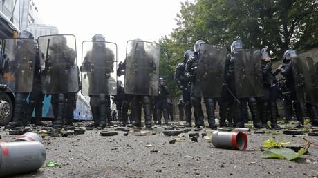 Des gendarmes lors de la manifestation du 14 juin dernier
