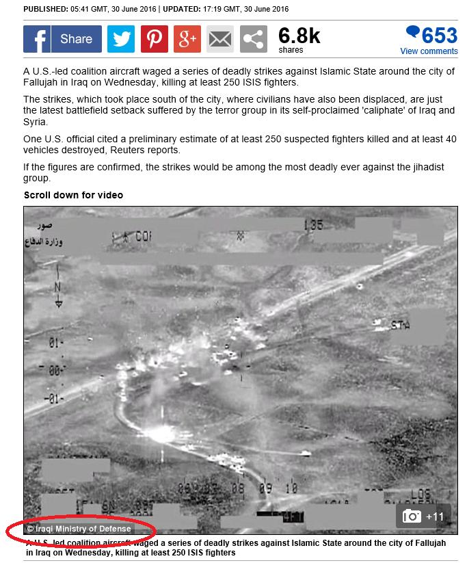Capture d'écran de l'article réalisé par le Daily Mail sur les récentes frappes qui ont touché les djihadistes aux environs de Falloujah