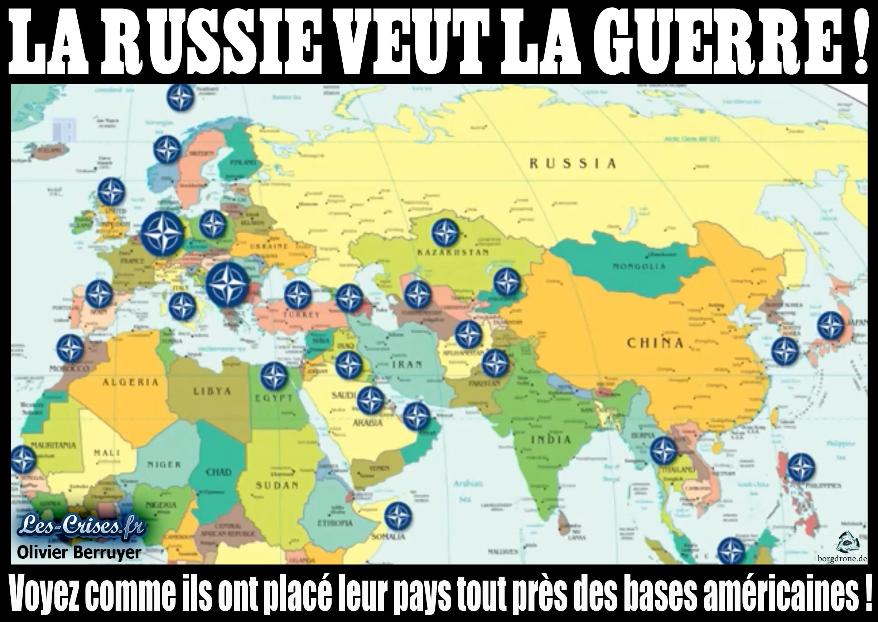 Le blogueur Olivier Berruyer s'est montré taquin envers l'Otan en publiant cette carte sur son site www.les-crises.fr