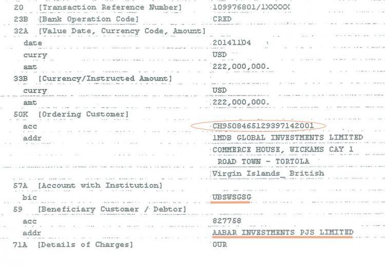 L'un des neufs reçus de virement bancaires impliquant la banque UBS