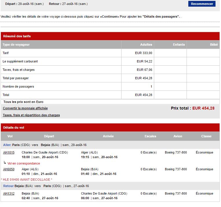 Capture d'écran du site d'Air Algérie