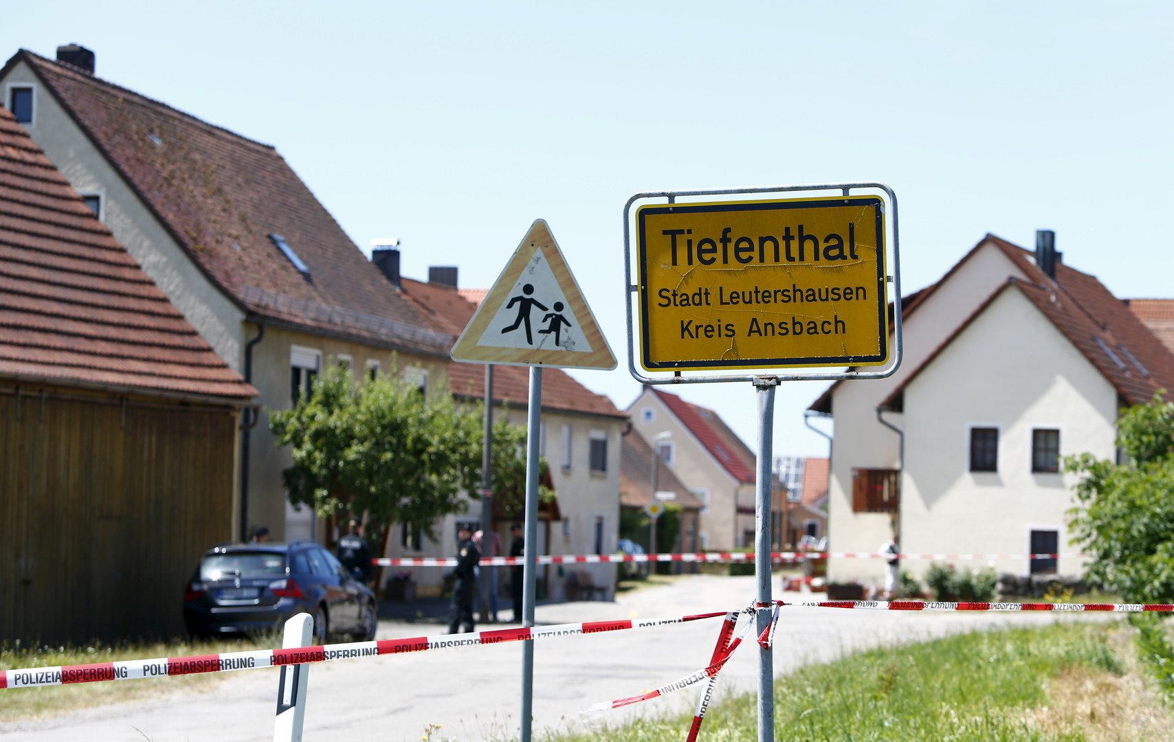 Scène du crime dans le petit village allemand de Leutershausen-Tiefenthal
